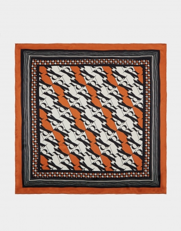 Brick red RV print silk scarf