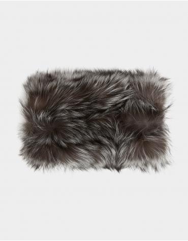 Gray fox fur collar