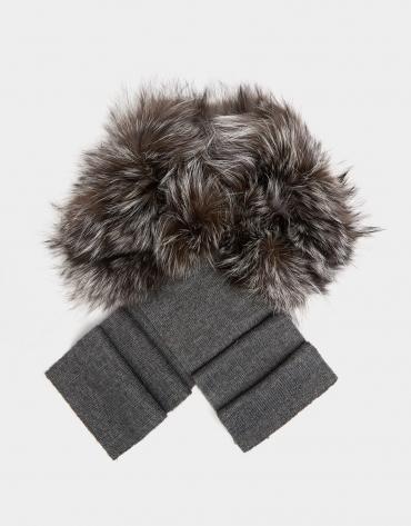 Bufanda pelo zorro y lana gris