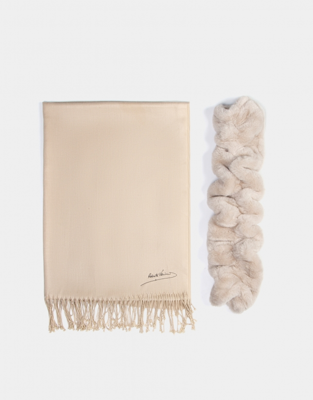 Beige fabric and fur scarf