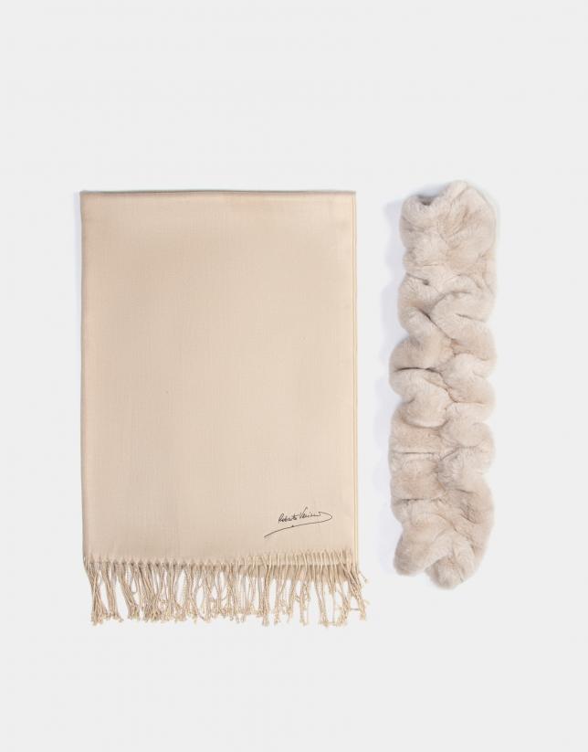 Bufanda pelo y tejido crudo
