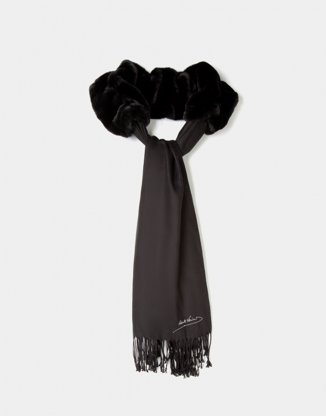 Black fabric and fur scarf