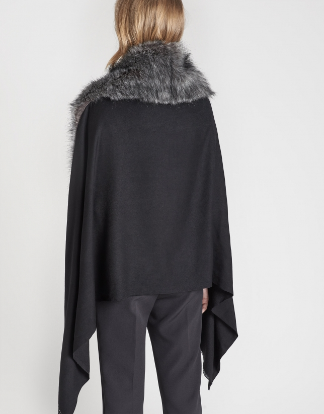 Black scarf with cape
