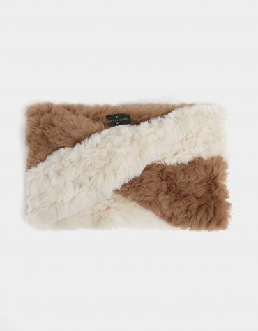 Bufanda tubular dos colores beige/blanco
