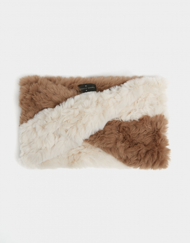Beige/white tubular wool scarf