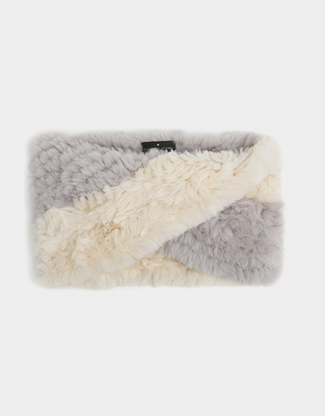 Two-tone gray tubular wool scarf