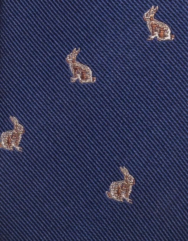 Corbata seda marino jacquard de conejos