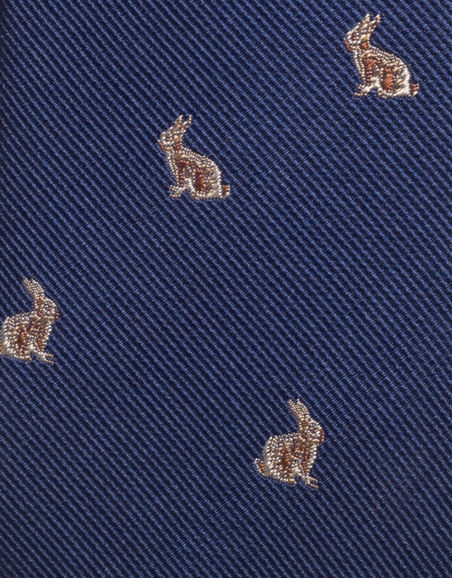 Navy blue rabbit jacquard silk tie