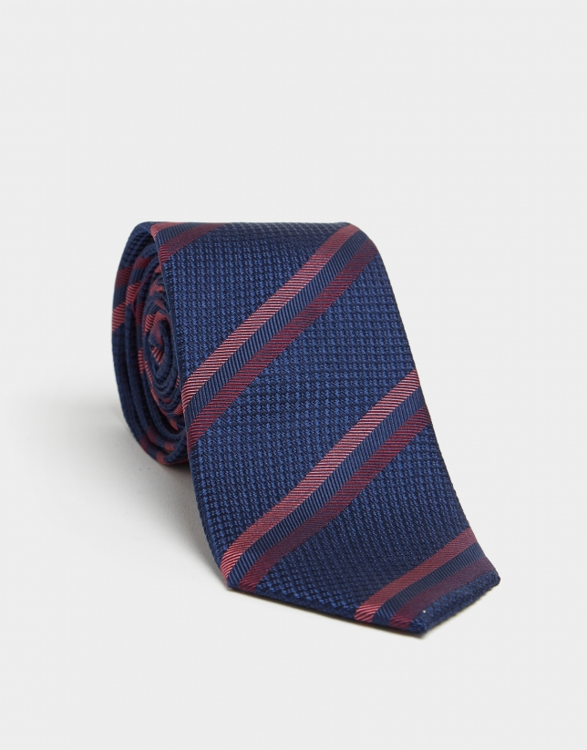 Navy blue silk tie with red floral jacquard print