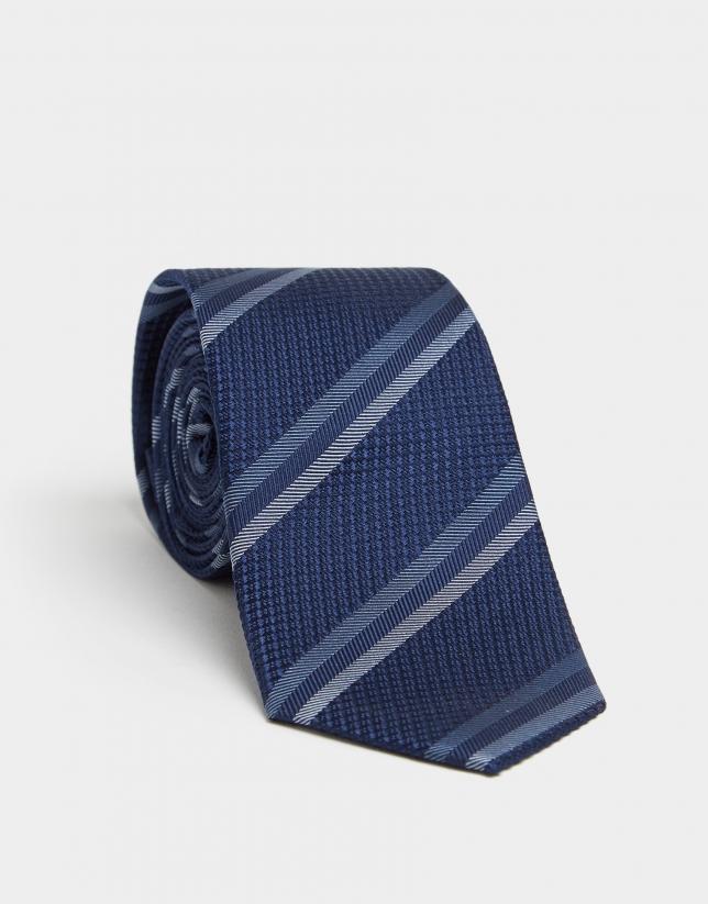 Navy blue silk tie with blue stripes