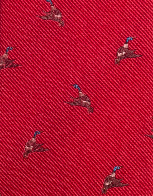 Red mallard silk jacquard tie