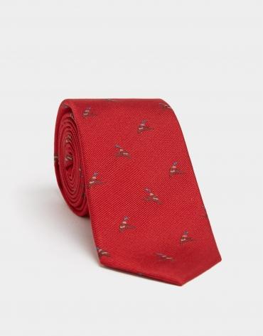 Corbata seda roja jacquard de ánade real