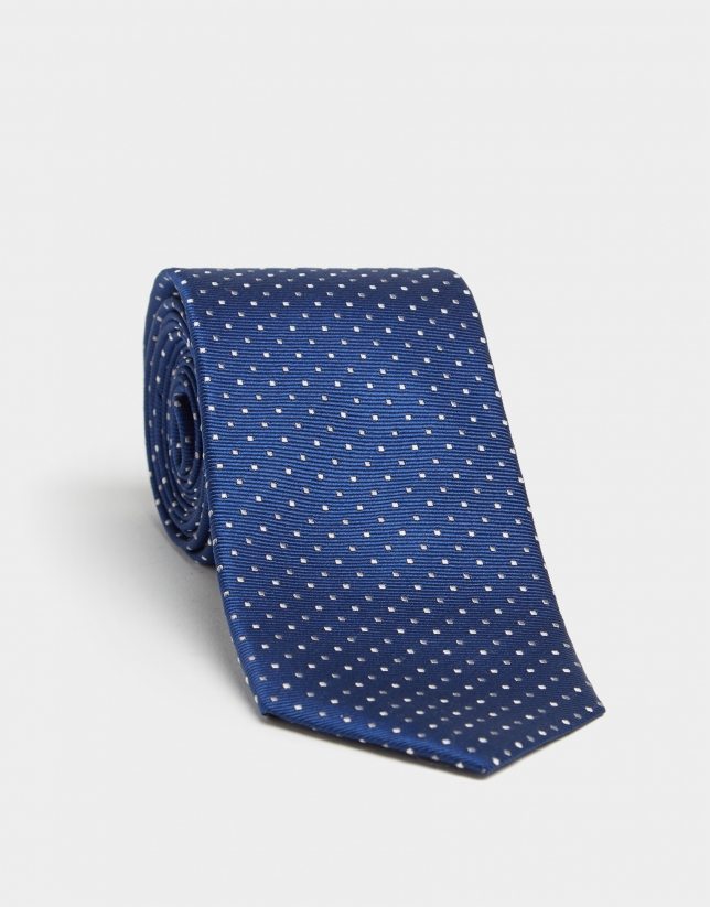 Ink blue silk tie with silver and gray micro-dot jacquard print