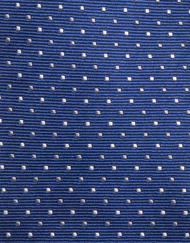 Corbata seda azul tinta Jacquard microlunares plata/gris