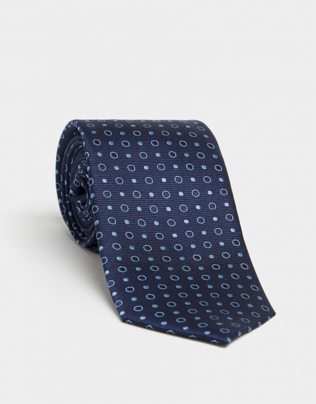 Navy blue silk tie with light blue jacquard circles and polka dots