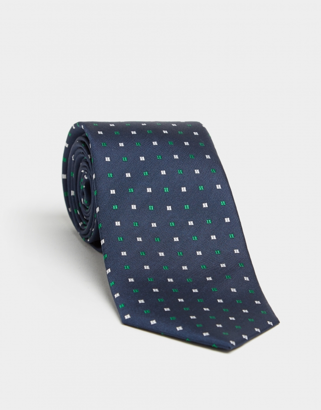 Navy blue silk tie with green and silver micro-dot jacquard
