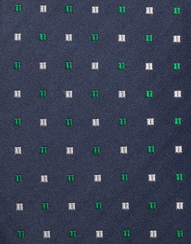 Corbata seda marino jacquard microcuadros plata/verde
