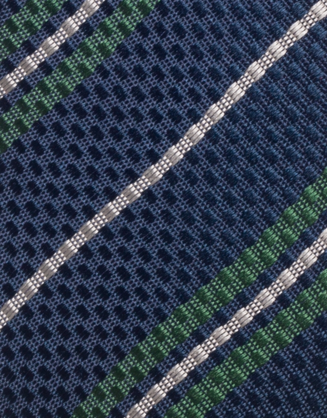 Navy blue silk tie with green and beige stripes
