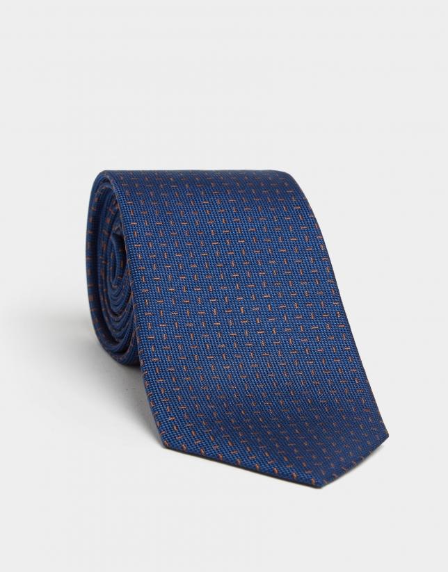 Navy blue silk tie with brown micro-design