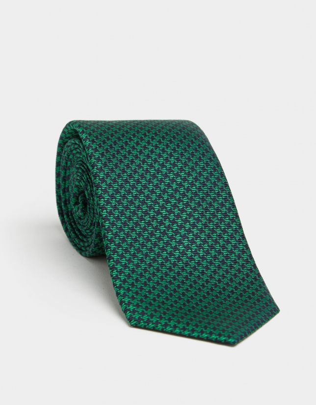 Green and navy blue houndstooth silk tie