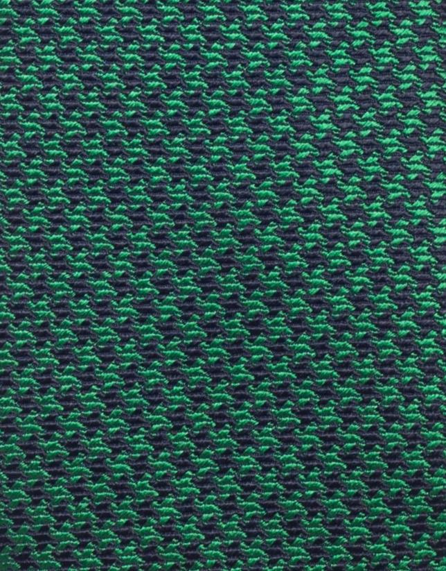 Corbata seda pata de gallo verde/marino