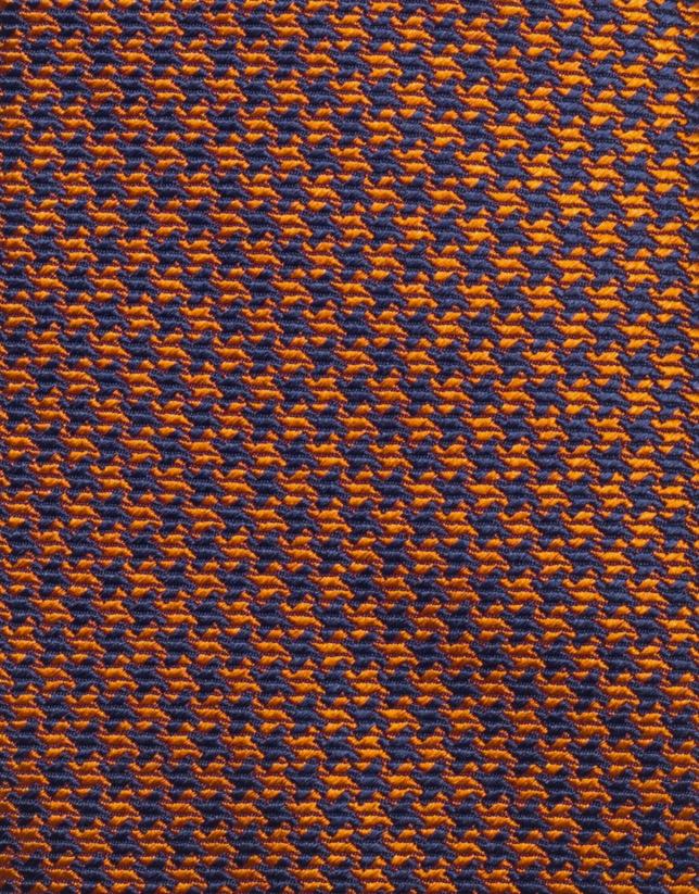 Corbata seda pata de gallo naranja/marino