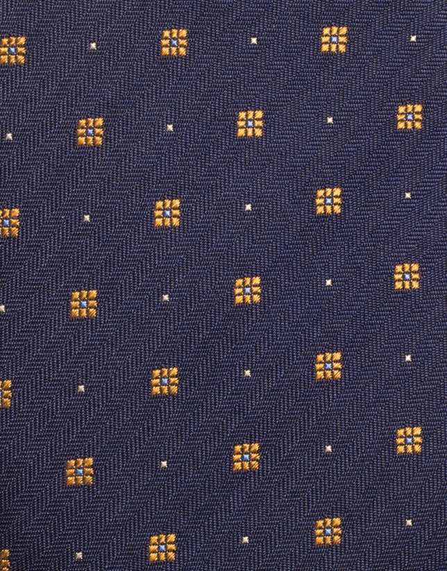 Navy blue silk tie with yellow geometric jacquard