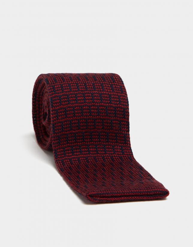 Corbata lana rayas rojo oscuro/azul oscuro
