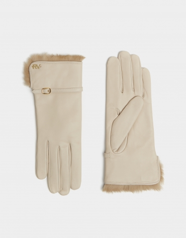 Beige leather gloves with decorative tape