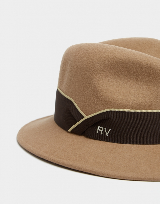 Camel felt fedora hat