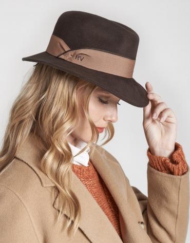 Sombrero fedora en fieltro marrón