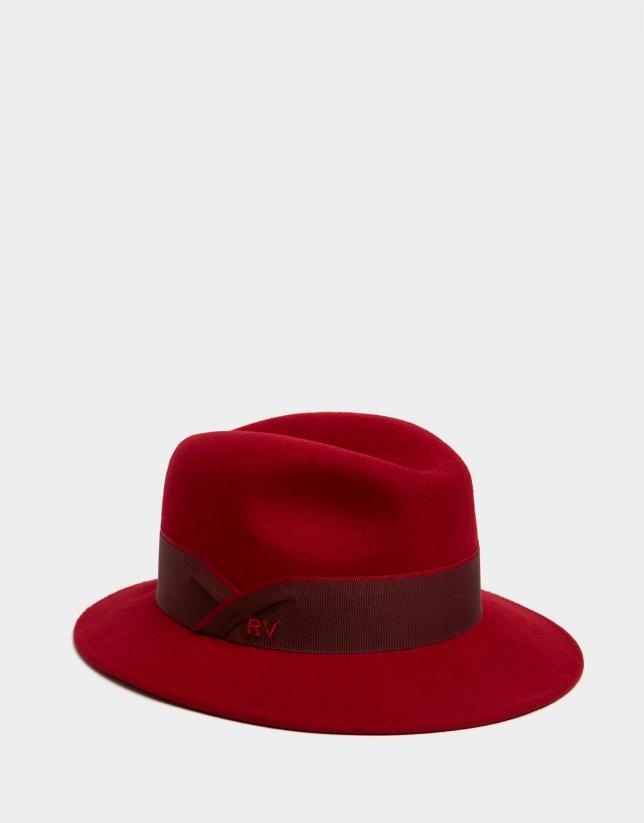 Red felt fedora hat