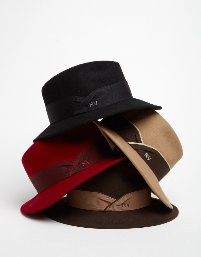 Red felt fedora hat