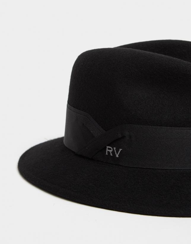 Sombrero fedora en fieltro negro