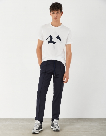 Navy blue wool pants with drawstring