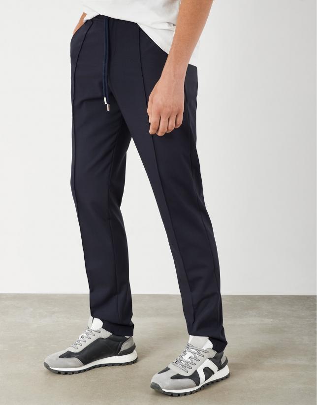 Pantalón cordones lana marino