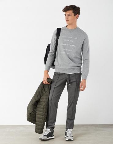 Gray wool pants with drawstring