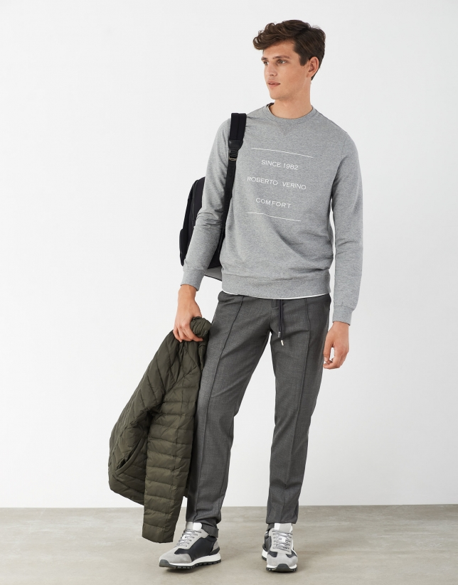 Pantalón cordones lana gris