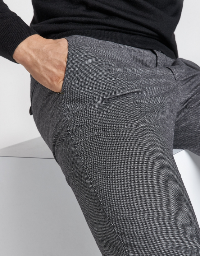 Dark gray regular fit chinos