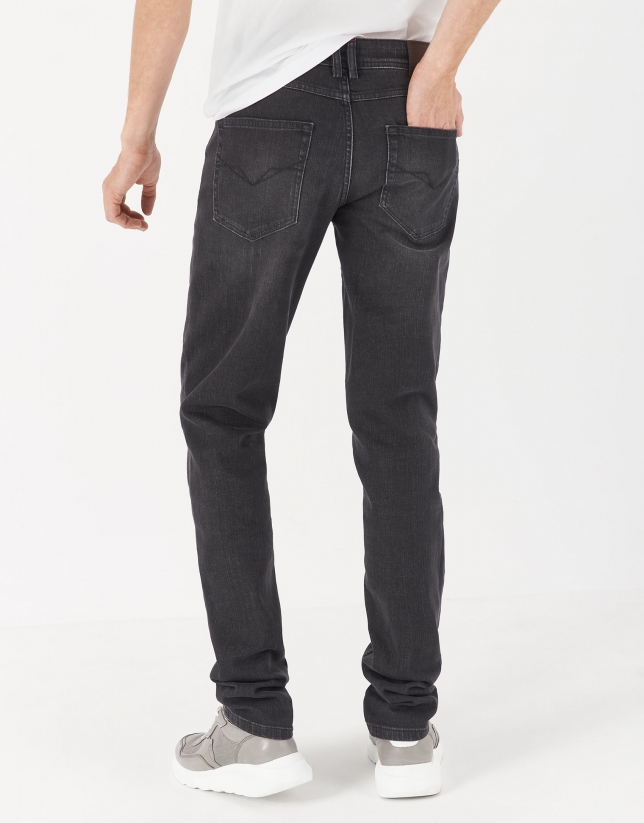 Gray stone washed jeans
