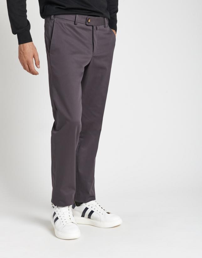 Gray cotton chinos