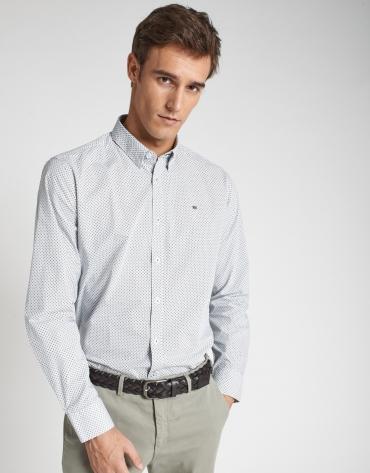 Camisa sport estampado geométrico azul/caqui