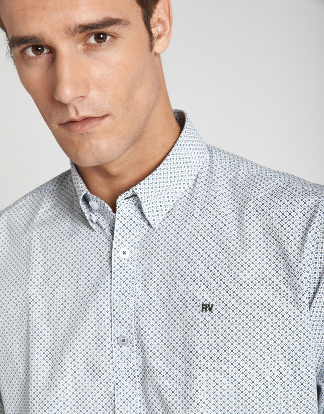 Blue and khaki geometric print sport shirt