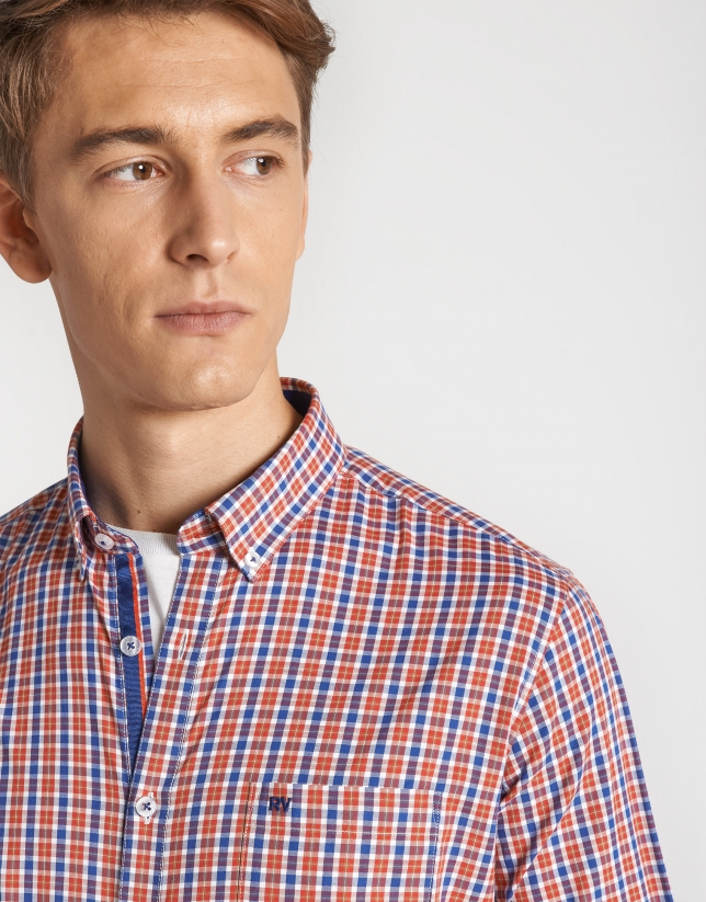Camisa sport cuadros naranja perfil azul