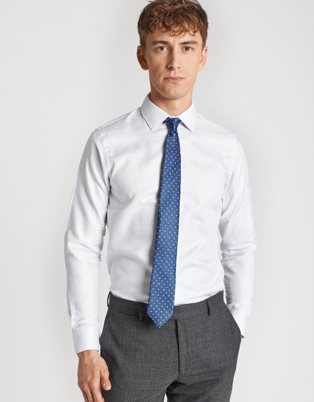 Camisa vestir algodón falso liso gris plata