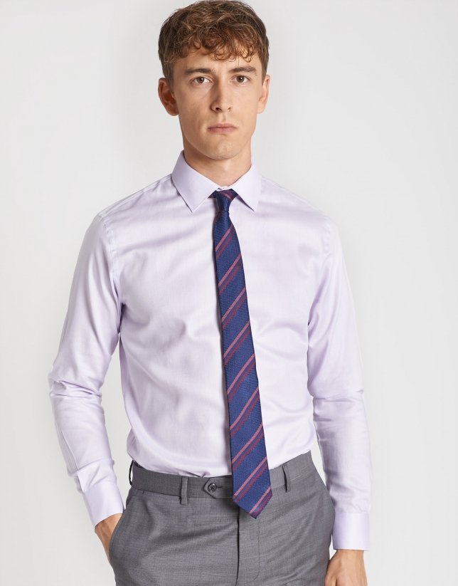 Lavendar cotton structured dress shirt