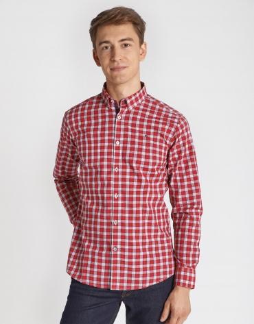 Camisa sport cuadros rojos perfiles marino