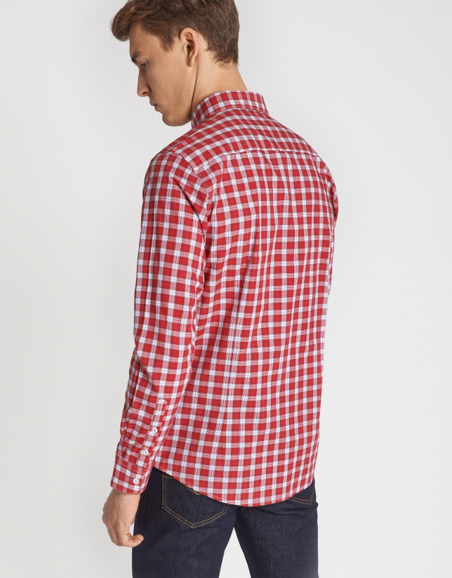 Navy blue and red checked sport shirt