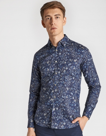 Blue sport shirt with gray floral print