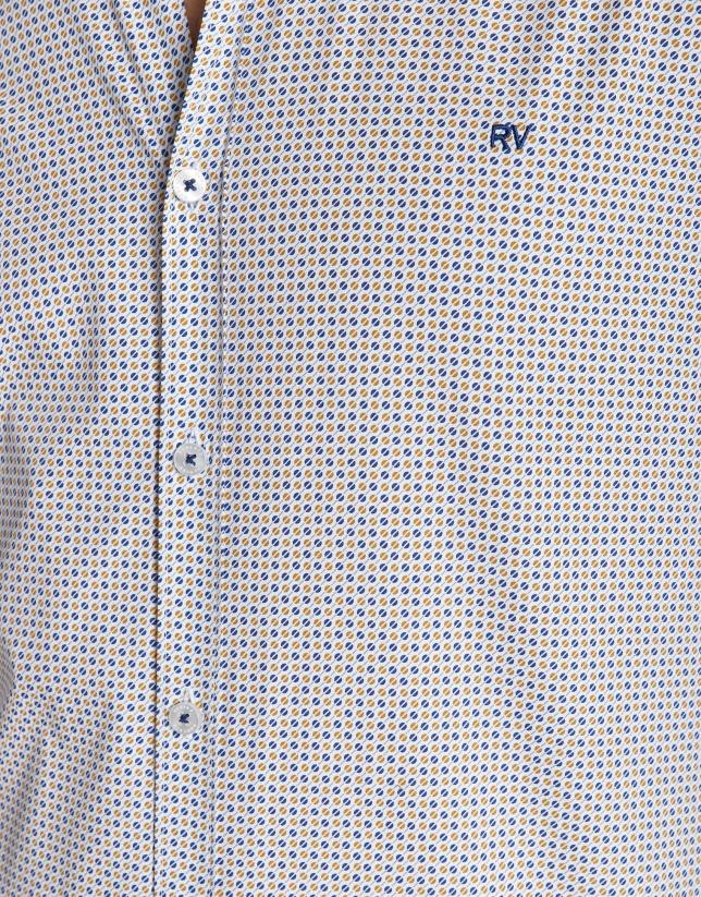 Camisa sport estampada círculos amarillos/azul